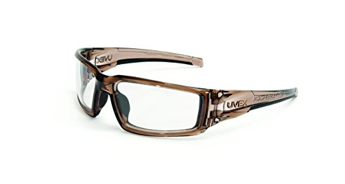 Uvex by Honeywell Hypershock Safety Glasses, Brown Frame with Clear Lens &...