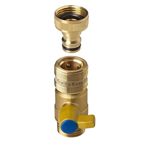 GORILLA EASY CONNECT Female Ball Valve Shut Off with Quick Connect Fittings...
