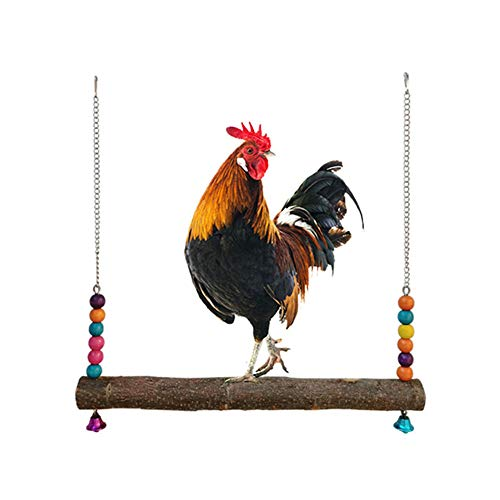 Minelife Chicken Swing Toys with Natural Wooden Chicken Perch, Chicken Wood...