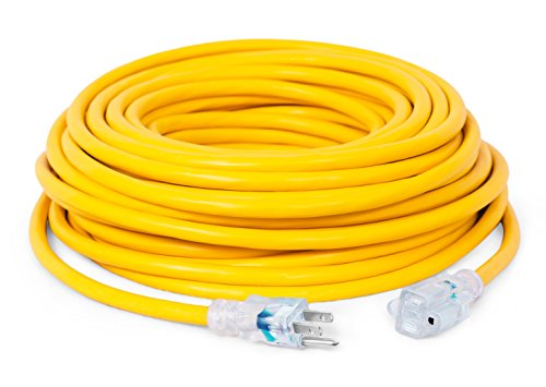 Internet's Best 100 FT Power Extension Cord with LED Lighted Plugs - 12 AWG...