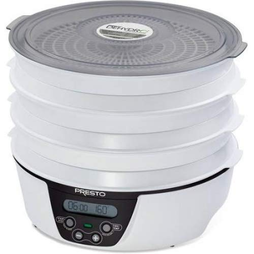 Presto Dehydro Electric Food Dehydrator, 6 trays, white and black