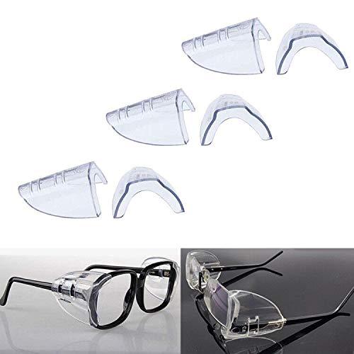 3 Pairs Eye Glasses Side Shields, Flexible Slip on Side Shields for Safety...