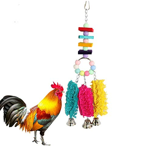 Lanermoon Chicken Toys for Hens with Natural Colorful Loofah Hanging Bells...