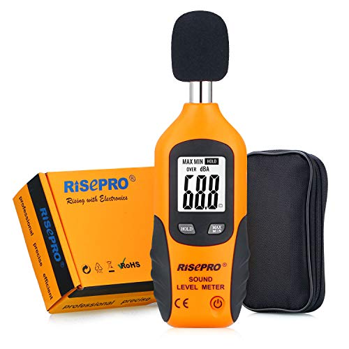 RISEPRO Decibel Meter, Digital Sound Level Meter 30 – 130 dB Audio Noise...