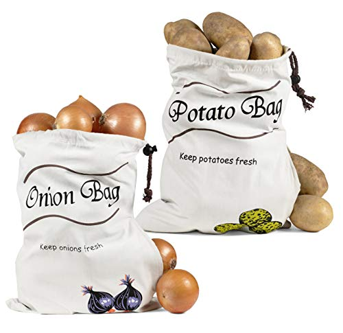 Reusable Storage Bags - Onion Holder Potato Storage Zipper Sprout Free...