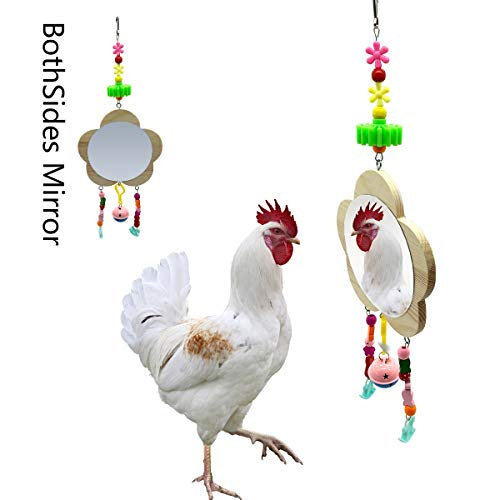 Vehomy Chicken Toys for Hens with Mirrors Chicken Wood Mirror Toy with Bell...