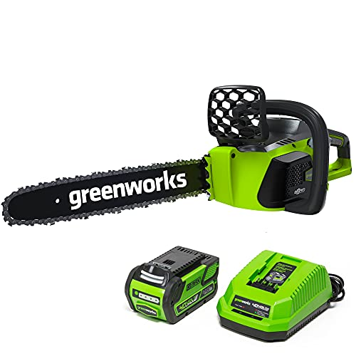 Greenworks 40V 16' Brushless Cordless Chainsaw, 4.0Ah Battery and Charger...