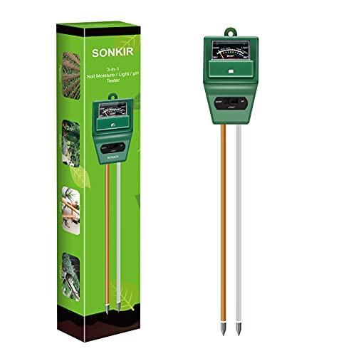 SONKIR Soil pH Meter, MS02 3-in-1 Soil Moisture/Light/pH Tester Gardening...