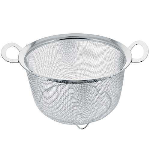U.S. Kitchen Supply 3 Quart Stainless Steel Mesh Net Strainer Basket with a...