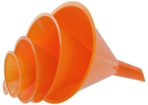 RAM-PRO 4-Piece All Purpose Wide-Mouth Bright Orange Plastic Funnel Set for...