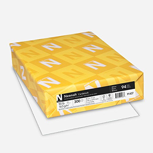"Neenah Cardstock, 8.5"" x 11"", 90 lb/163 gsm, White, 94 Brightness, 300..."