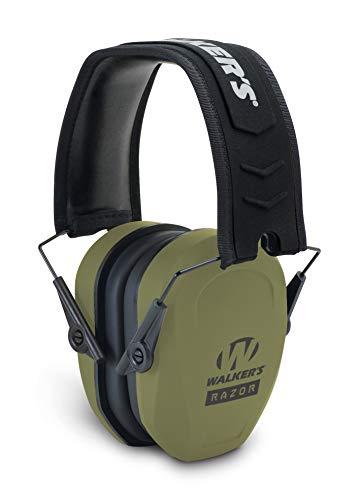 Razor Slim Passive Earmuff - Ultra Low-Profile Earcups - Olive Dark Green,...