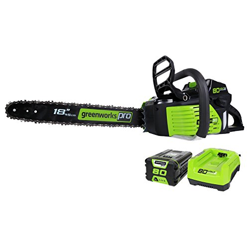 Greenworks Pro 80V 18-Inch Brushless Cordless Chainsaw, 2.0Ah Battery and...