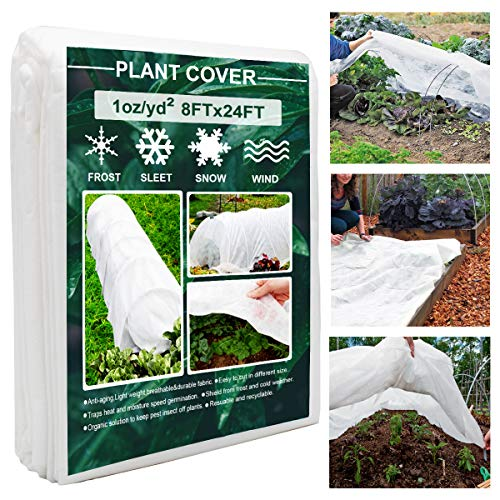 Plant Covers, 8Ft x 24Ft Reusable Floating Row Cover, 1oz Freeze Protection...