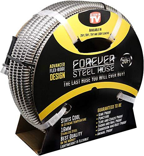 FOREVER STEEL HOSE | 50FT 304 Heavy Duty Stainless Steel Metal Garden Water...
