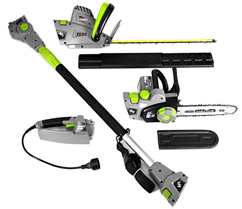 """Earthwise CVP41810 7 10"""" Handheld Saw-4.5 Amp 17"""" Pole Hedge Trimmer 4-in-1..."""