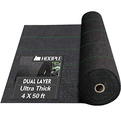 HOOPLE 5Oz Weed Barrier Fabric, Garden Landscape Fabric, Dual Layer Fabric,...