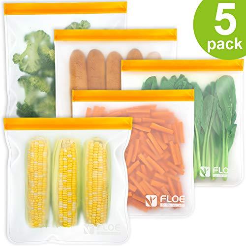 Reusable Gallon Freezer Bags - 1 Gallon Ziplock Bags 5 PACK, LEAKPROOF...