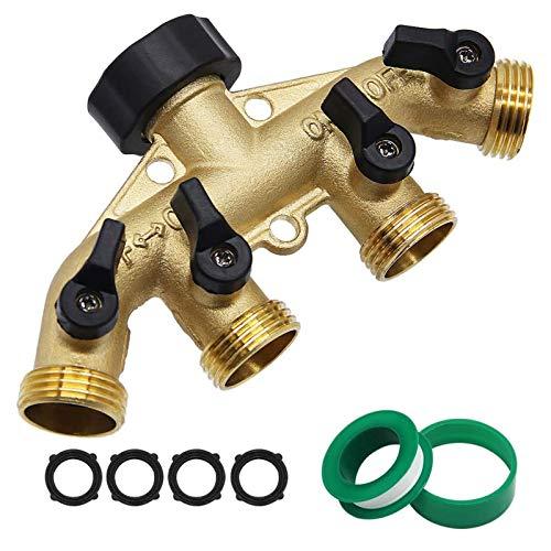 Twinkle Star 4 Way Heavy Duty Brass Garden Hose Splitter, Hose Connector...