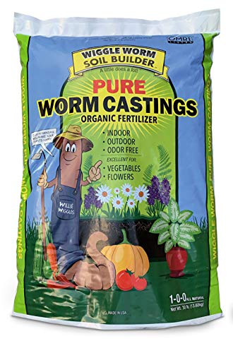 Worm Castings Organic Fertilizer, Wiggle Worm Soil Builder, 30-pounds
