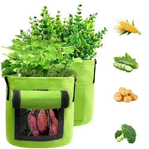 BAGOKIE Plant Grow Bags, Potato Grow Bags 15 Gallon, Thickened Non-Woven...