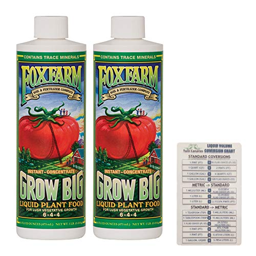 FoxFarm Grow Big Liquid Concentrate, 16 oz (2 Pack) + Twin Canaries Chart