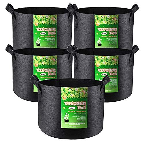 VIVOSUN 5-Pack 10 Gallon Plant Grow Bags, Heavy Duty Thickened Nonwoven...