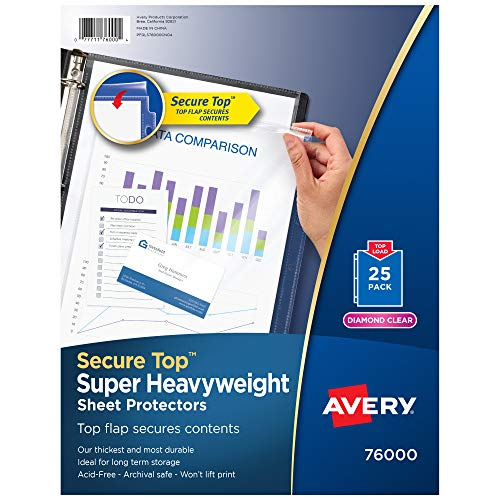 Avery Diamond Clear Secure Top Sheet Protectors, Super Heavyweight, 25 Page...