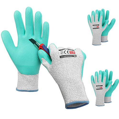 HAUSHOF 3 Pairs Latex Coated Working Gloves, Level 5 Cut Resistant Garden...