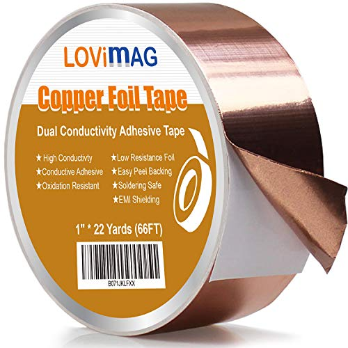 LOVIMAG Copper Foil Tape (1inch X 66 FT) with Conductive Adhesive for...