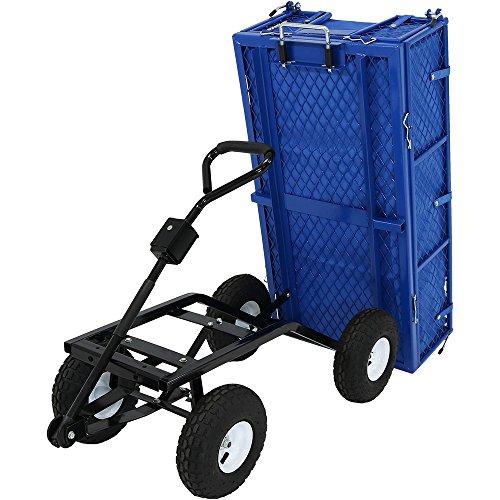 Sunnydaze Utility Steel Dump Garden Cart with Liner Set, Outdoor Lawn Wagon...