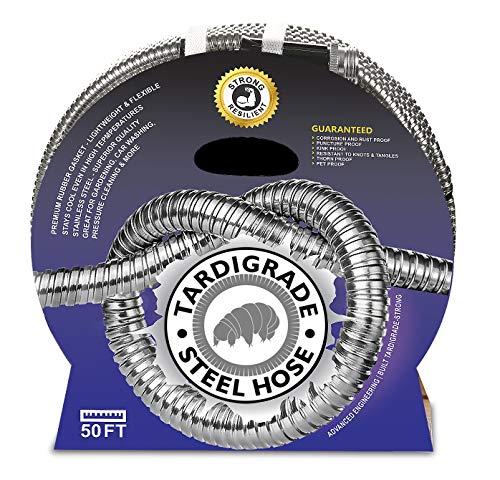 Tardigrade Steel Hose - 50' 304 Stainless Steel Garden Hose - Lightweight,...