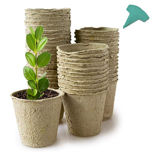 GROWNEER 30 Packs 4 Inch Peat Pots Plant Starters for Seedling with 15 Pcs...