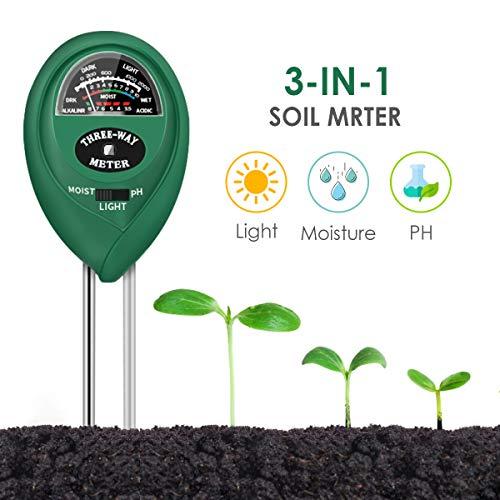 CharmUO Soil Moisture Meter, 3-in-1 Soil Moisture/Light/pH Tester Gardening...