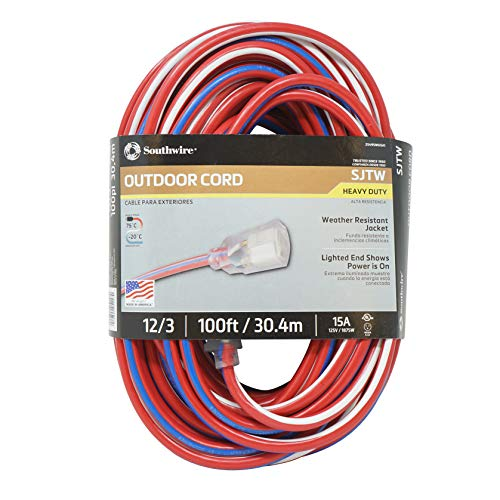 Southwire 2549SWUSA1 100-Feet, Contractor Grade, 12/3 Extension Cord, With...