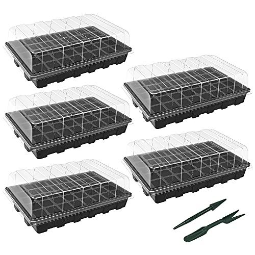 Gardzen 5-Set Garden Propagator Set, Seed Tray Kits with 200-Cell, Seed...