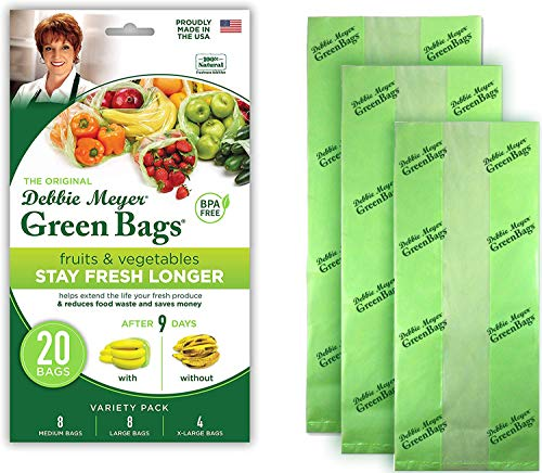 Debbie Meyer GreenBags 20-Pack (8M, 8L, 4XL) – Keeps Fruits, Vegetables,...