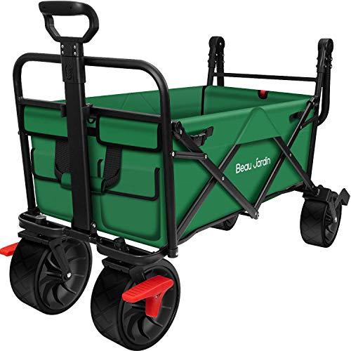 BEAU JARDIN Folding Wagon Cart With Brake Free Standing Collapsible Utility...