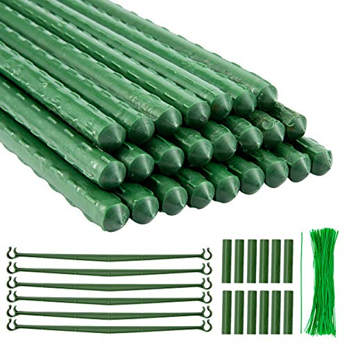 ANPHSIN Pack of 24 Garden Stakes 15.7 inch Steel Plant Stakes- Sturdy...