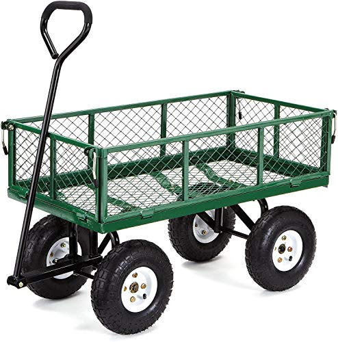 Gorilla Carts GOR400-COM Steel Garden Cart with Removable Sides, 400-lbs....
