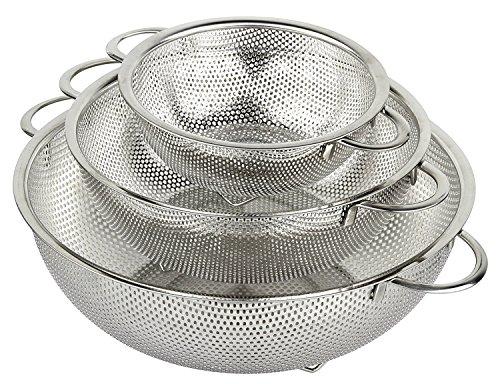 HÖLM 3-Piece Stainless Steel Mesh Micro-Perforated Strainer Colander Set...