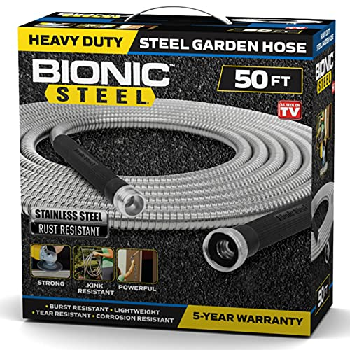 Bionic Steel 50 Foot Garden Hose 304 Stainless Steel Metal Water Hose –...