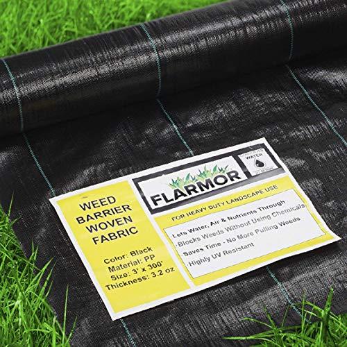 FLARMOR Premium Landscape Fabric Heavy Duty 3Ft x 300Ft 3.2oz Black - Woven...