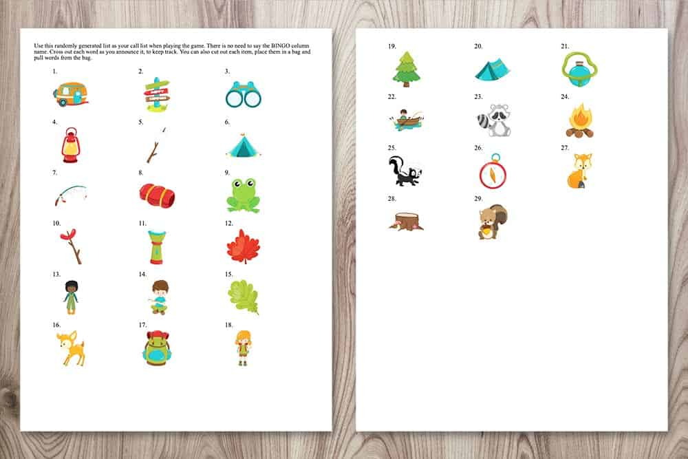 call cards for free printable camping bingo featuring 29 cartoon camping and forest images