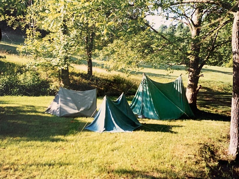 old canvas tents set up by a tree