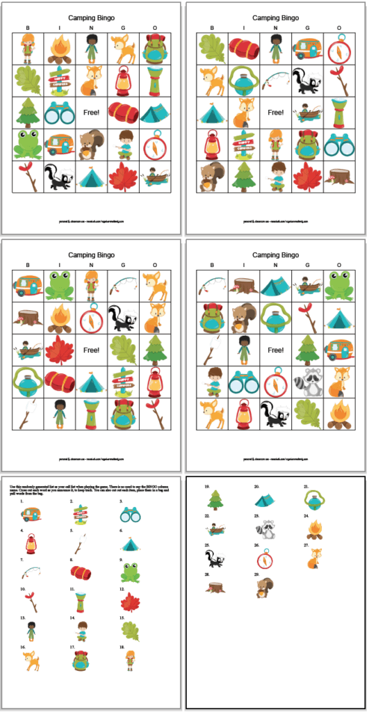 four free printable camping bingo cards with two sheets of call cards. The bingo game features clipart camping images and animals.