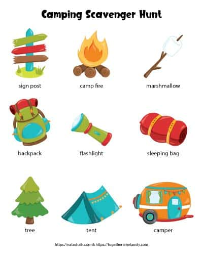 A free printable camping scavenger hunt for kids featuring nine cartoon images of camping items to seek and find