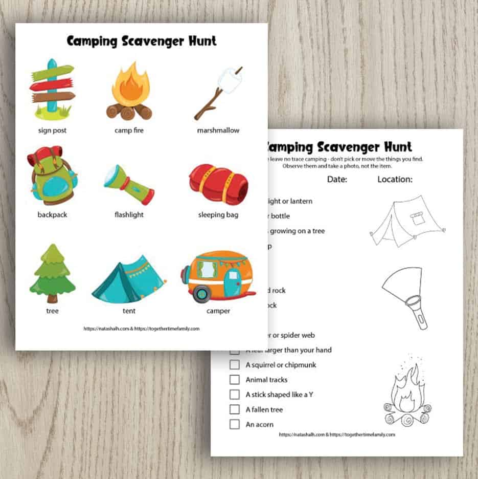 Two printable camping scavenger hunts for kids. One has 9 colorful images for younger children. The other scavenger hunt is text-based and features nature items to seek and find. The two previews overlap a little and are on a wood background.