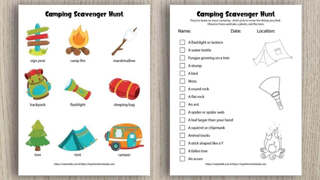 Two printable camping scavenger hunts for kids. One has 9 colorful images for younger children. The other scavenger hunt is text-based and features nature items to seek and find.