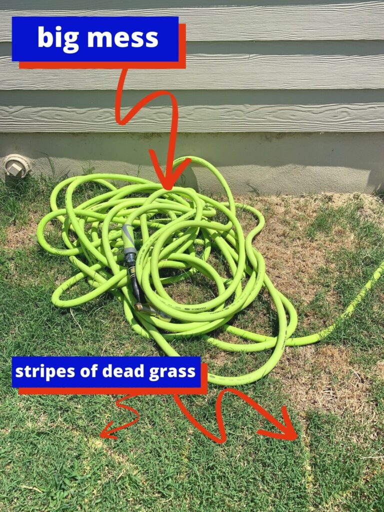 "a messy green garden hose on a lawn with stripes of dead grass. There are text labels with arrows ""big mess"" and ""stripes of dead grass"""
